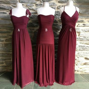 Mismatched Long Chiffon Cheap Formal Winter Floor-length Bridesmaid Dresses ,WG387