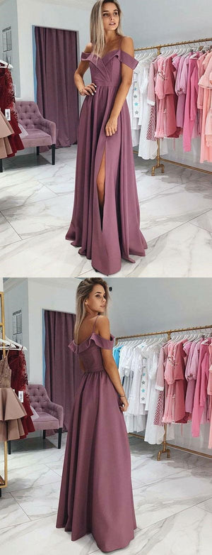 Modern A-line Spaghetti Straps Purple Long Prom Dressess with split, PD0853
