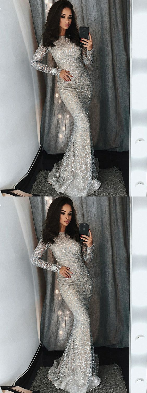 6b20c56a735 Modest Elegant Sparkly Mermaid Lace Vintage Sexy Silver Long Sleeve Prom  Dresses