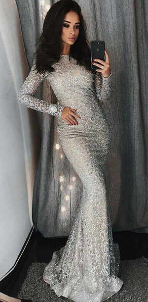 Modest Elegant Sparkly Mermaid Lace  Vintage Sexy Silver Long Sleeve Prom Dresses, PD1240