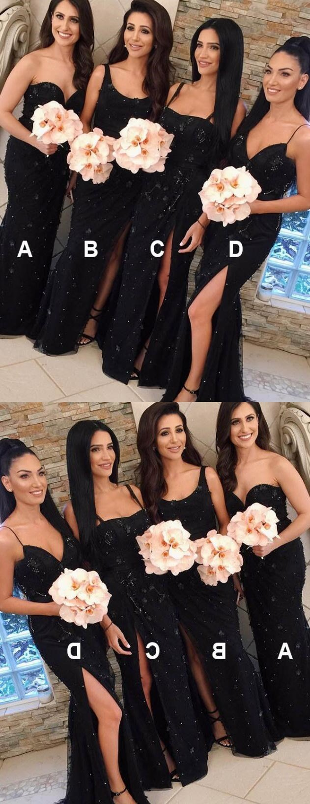 Modest Mismatched Sweetheart Sweep Train Black Lace Bridesmaid Dresses with split ,WG385