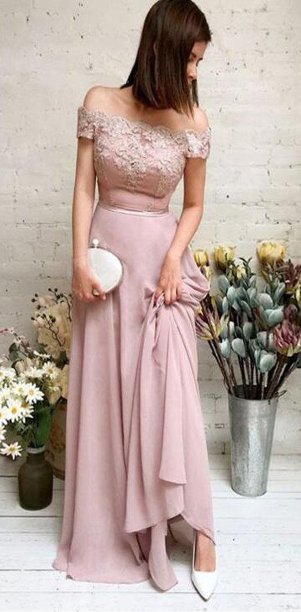 Modest Pink Chiffon Cheap Off the Shoulder Lace Prom Dresses, evening dress, PD0918