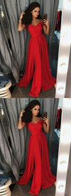 Modest Red Off the Shoulder Long Best Sale Prom Dresses Online, evening dress, PD0904