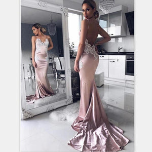 Modest Spaghetti Straps Backless Sweep Train Pink Long Prom Dresses with Lace, PD0870