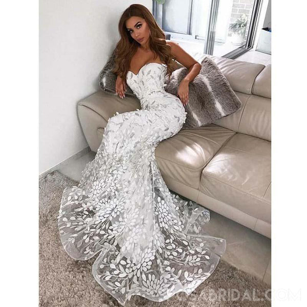 63490cdfab33 Modest Unique Sweetheart White Prom Dresses,Long Mermaid Evening Gowns –  CharmingDressy