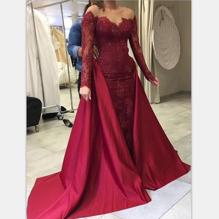 Morden Long Sleeves Burgundy Mermaid Modest Beautiful Lace Long Prom Dressespd1014