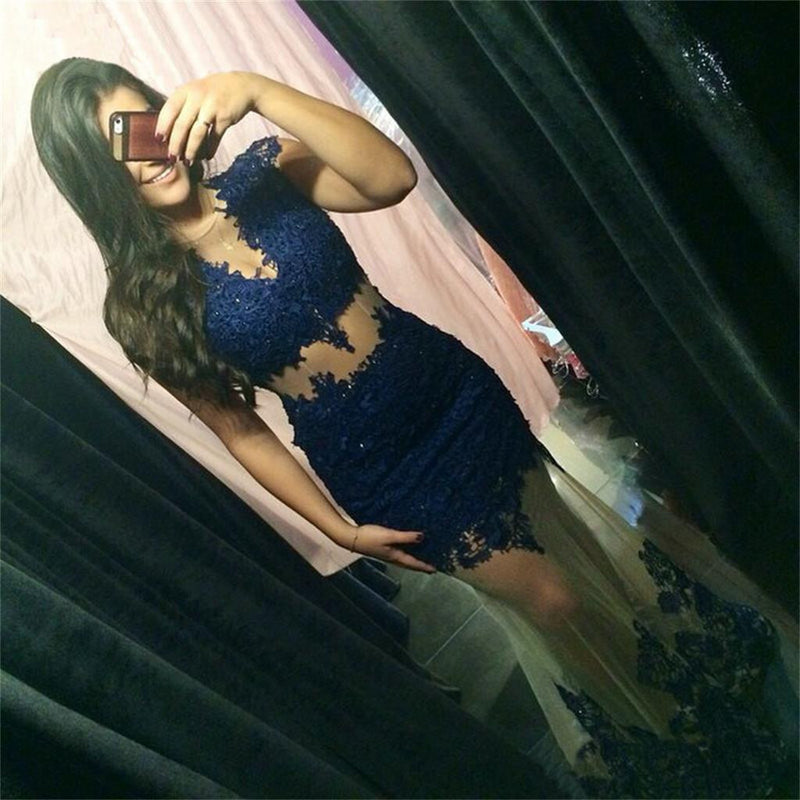 Blue Lace Long Sexy See-through Mermaid Fashion Formal Party Prom Dress ,PD0243