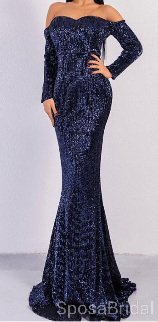 f26b044be Navy Blue Sparkly Sequin Mermaid Elegant Modest Simple Formal Long Custom Prom  Dresses for Women,
