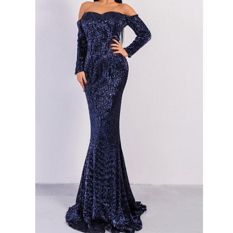 Navy Blue Sparkly Sequin Mermaid Elegant Modest Simple Formal Long Custom Prom Dresses for Women, PD1278