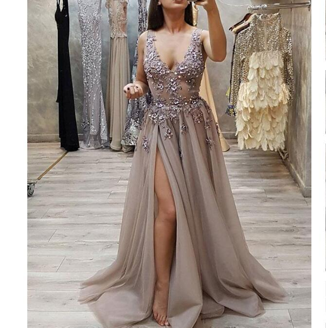 New Modest Fashion Gray V Neck Side Split Tulle Long Party Ptrom Dresses, PD0905
