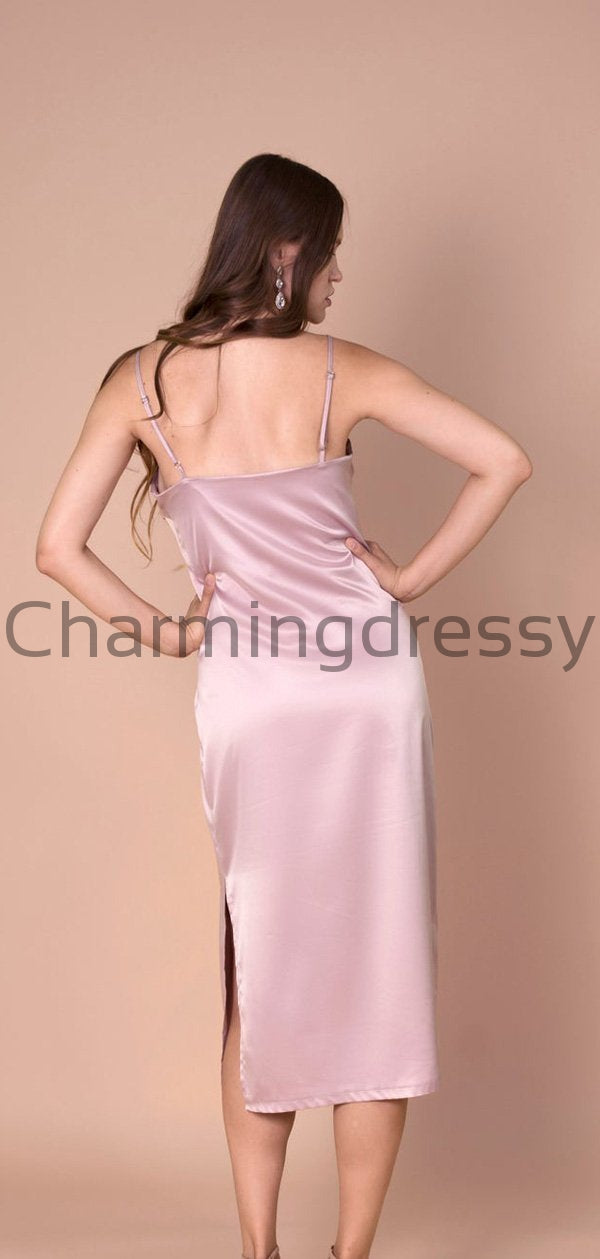 Newest Cheap Pink Spaghetti Straps V-Neck Unique Simple Bridesmaid Dresses WG659