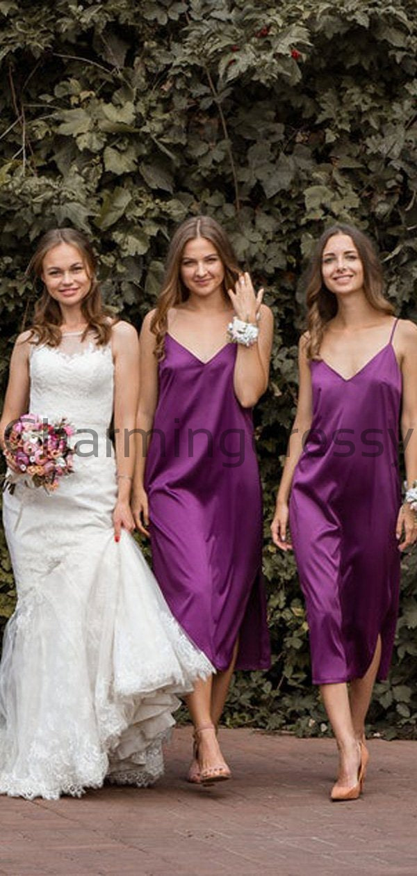 Newest Cheap Purple Spaghetti Straps V-Neck Unique Simple Bridesmaid Dresses WG660