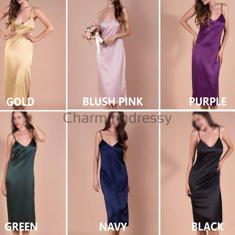 Newest Cheap Spaghetti Straps V-Neck Unique Custom Bridesmaid Dresses WG661