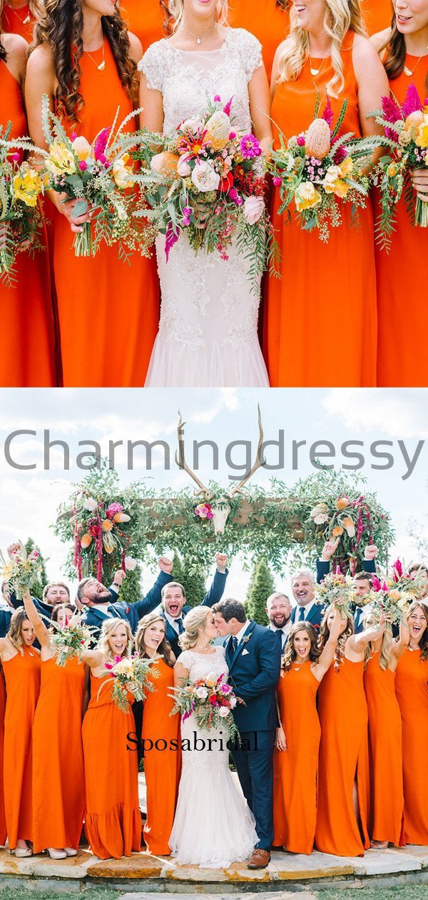 Newest Elegant Orange Long Popular Simple Bridesmaid Dresses WG662