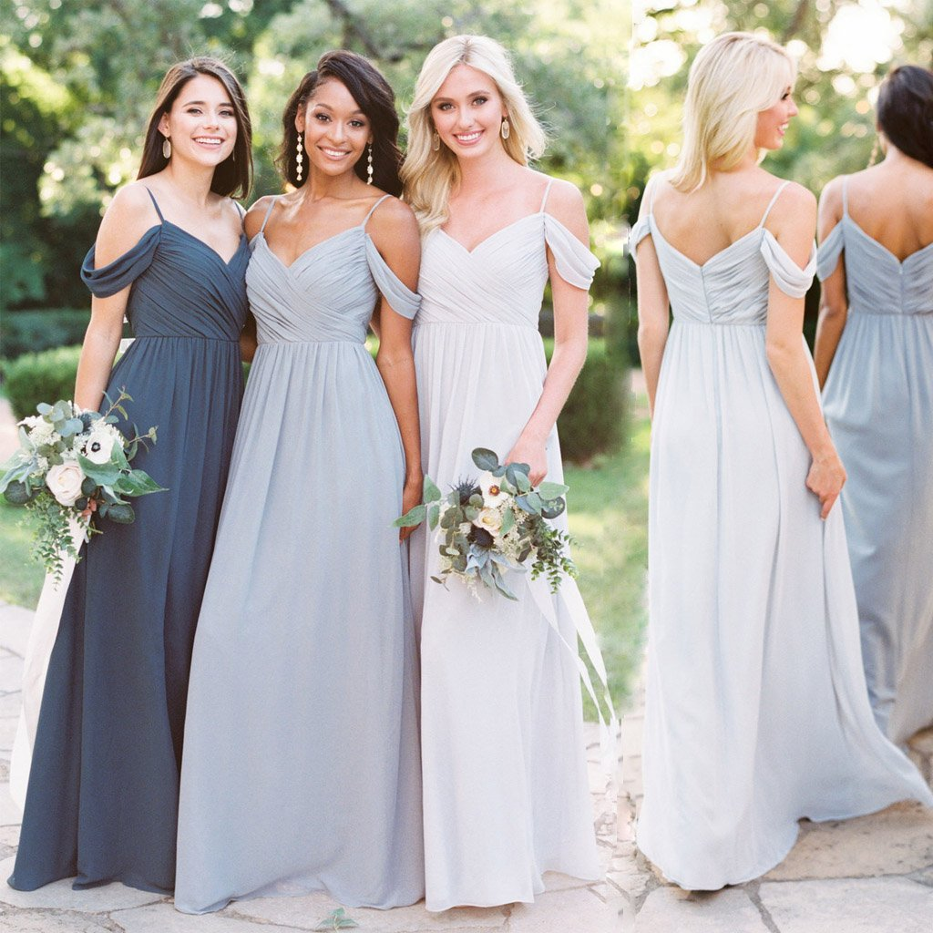 Off Shoulder Long A-Line Chiffon Cheap Custom Hot Sale Bridesmaid Dresses,WG351