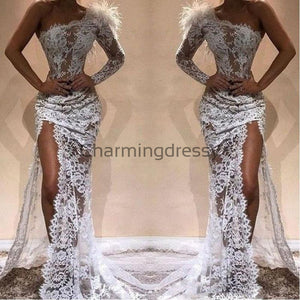 One Shoulder Lace Side Slit Fashion Prom Dresses PD2232