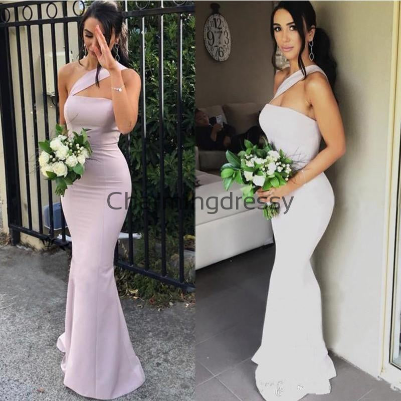 One Shoulder Mermaid Simple Cheap Long Bridesmaid Dresses WG724