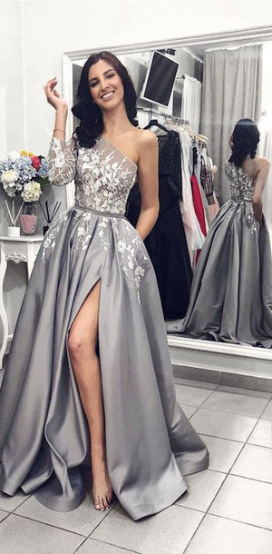 One Shoulder  Lace Elegant Grey Long Custom Prom Dresses, evening dress for party , PD0986
