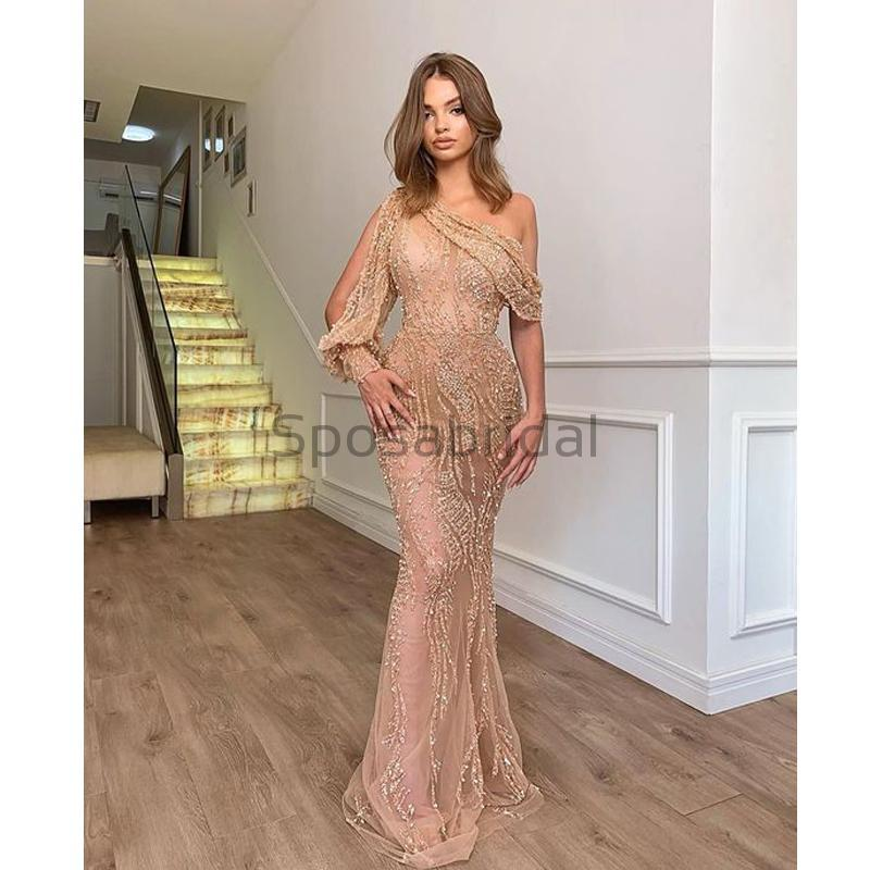 One Shoulder Mermaid Bead See-through Long Modest Formal Prom Dresses PD1597