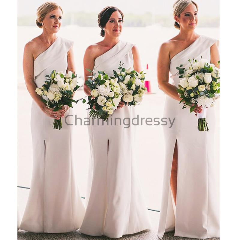 One Shoulder SIde Slit Simple Elegant Bridesmaid Dresses WG664