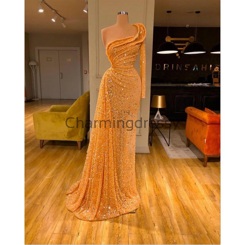 Orange Sequin Sparkly Unique Formal Elegant Prom Dresses PD2234