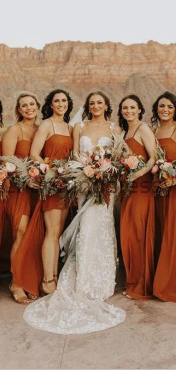 Orange Saghetti Straps Simple Unique Fall Summer Bridesmaid Dresses WG665