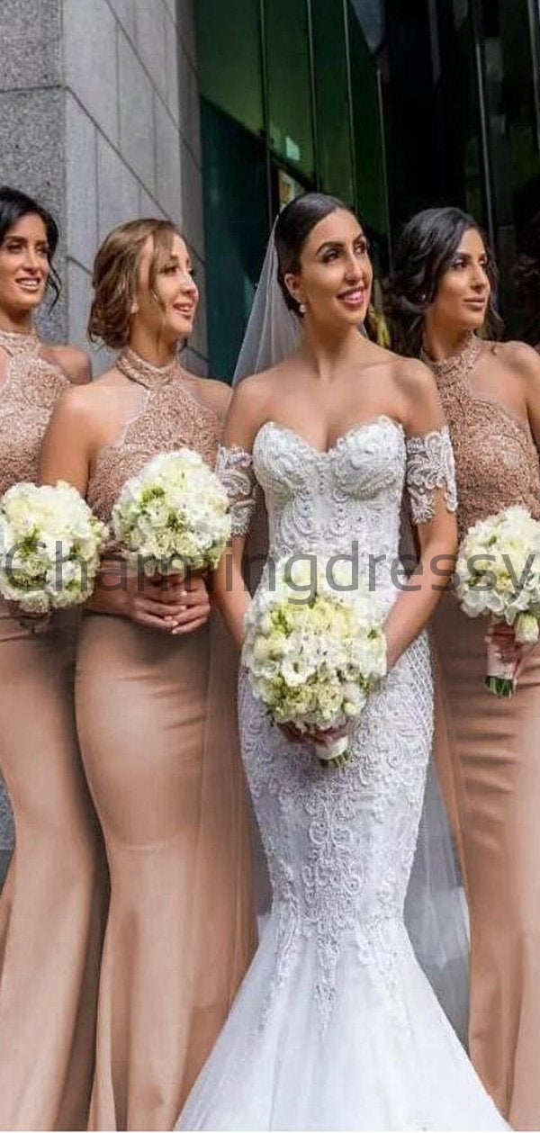 Outstanding Halter Full-length Mermaid Bridesmaid Dresses With Lace Appliques WG666