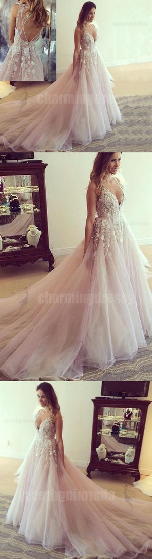 Pastel Pink Lace Applique Evening Dresses, Sexy V-Neck Party Formal Prom Dresses, Ball Gown, PD0461