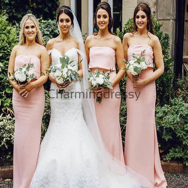 Pink Mermaid Unique Elegant Long Bridesmaid Dresses WG888