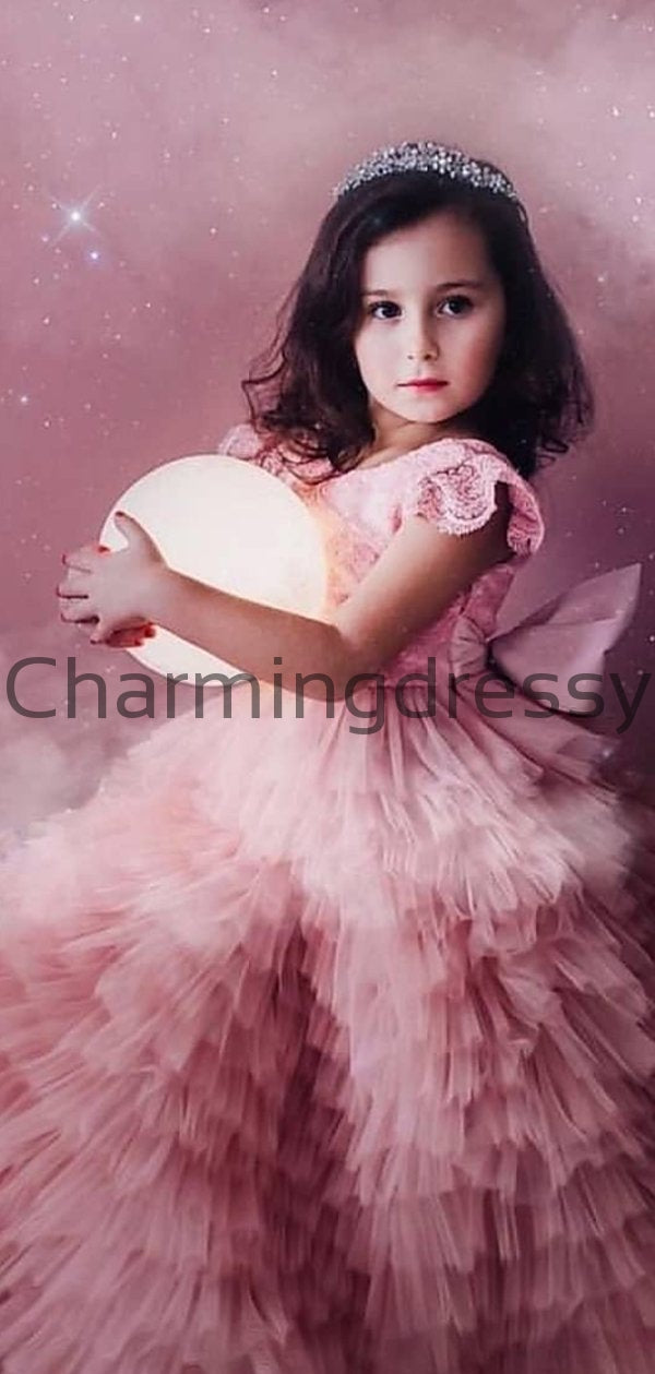 Pink Tulle Cute Junior Lovely Custom Flower Girl Dresses, FG138