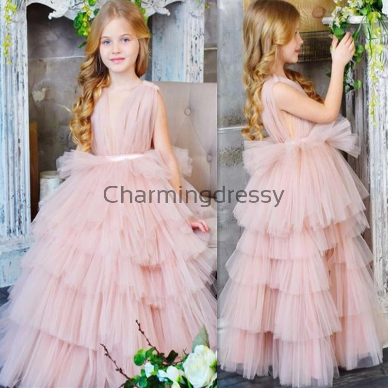 Pink Tulle Unique Lovely Custom Flower Girl Dresses, FG137