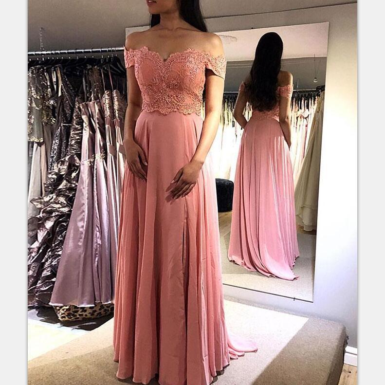 Peach Off the Shoulder A-line Lace Fashion Formal Prom Dresses, prom dress for party,PD0919