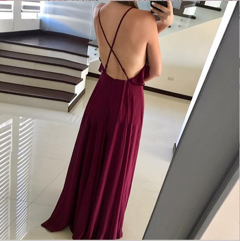 Popular Modest Simple Spaghetti Straps  Burgundy Chiffon Bridesmaid Dresses, prom dresses , WG282