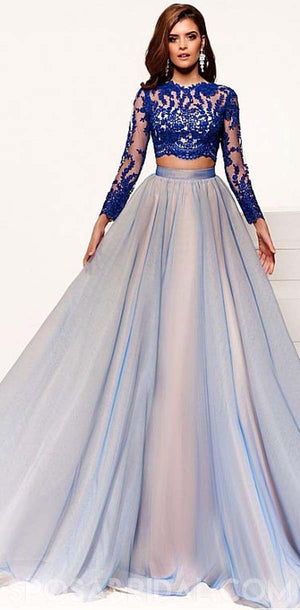 Popular  Two-piece A-line Long Sleeves Lace Blue Hot Prom Dresses, Evening Dresses With Lace Appliques, PD1172