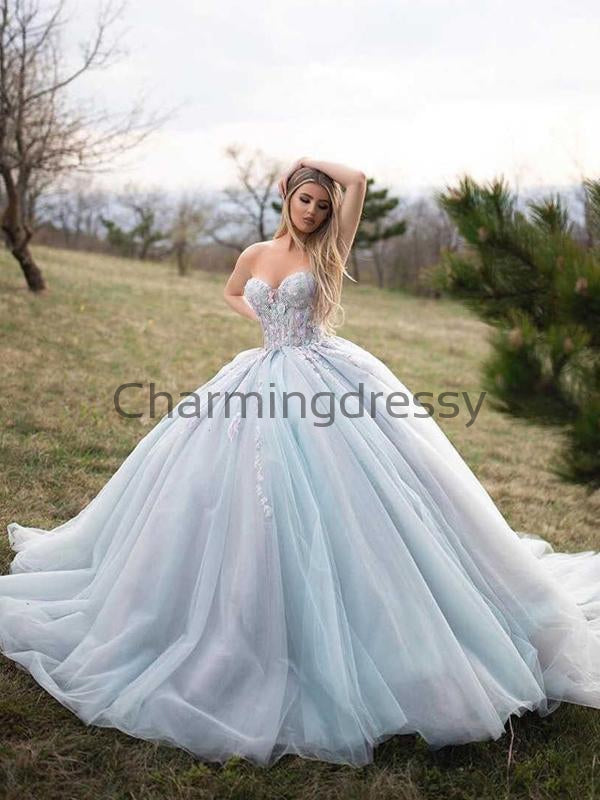 Princess Sexy Sweetheart Tulle Light Blue Wedding Dresses, Prom Dresses WD0460