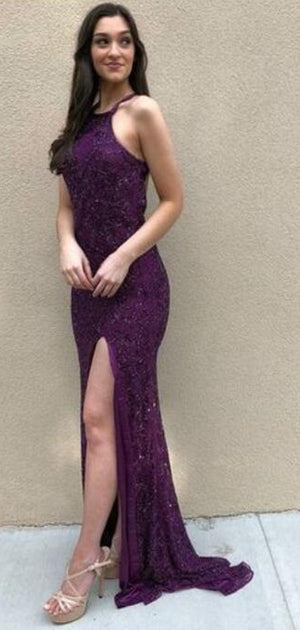 Purple Mermaid Side Split  Elegant Halter Prom Dresses, evening dress,PD1018