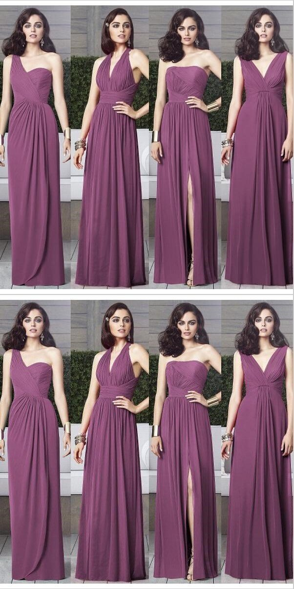 Purple Mismatched Long Cheap Elegant Charming Unique  Bridesmaid Dresses,WG363
