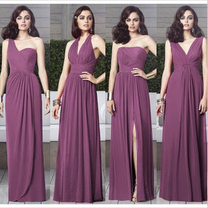 Sposabridal/Purple Mismatched Long Cheap Elegant Charming Unique  Bridesmaid Dresses,WG363