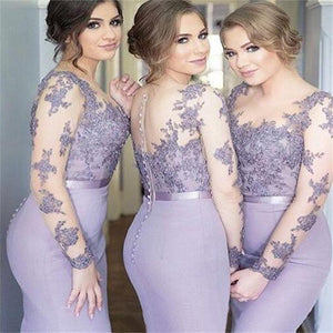 Long Sleeves Mermaid Scoop Lilac Custom Bridesmaid Dresses , Wedding Party Dresses , PD242