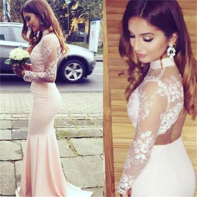 Long Sleeves Mermaid Open Back High Neck Pretty Bridesmaid Dresses  ,Formal Prom Dress ,PD0261