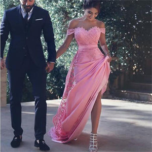 Pink Off Shoulder Detachable A Line Long Arabic Long 2017 New Arrival Formal Prom Dress , PD0268