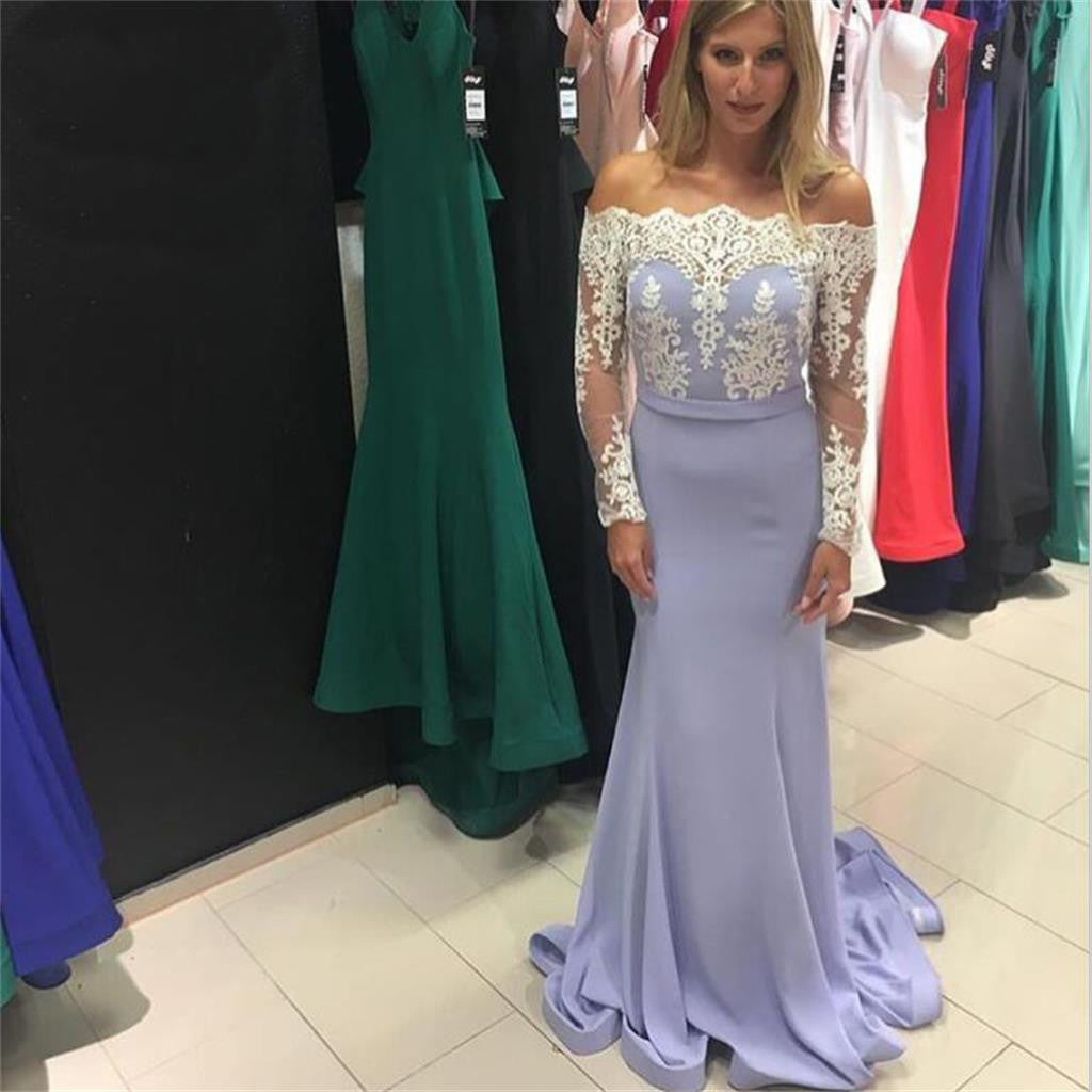 Lavender Long Mermaid Long Sleeves Lace Top Straight Neck Newest Prom Dress  , PD0272