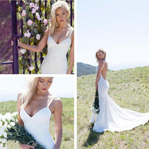 Sexy V-neck Backless Mermaid Spaghetti Strips Simple Affordable Custom size Wedding Dresses, PD0278