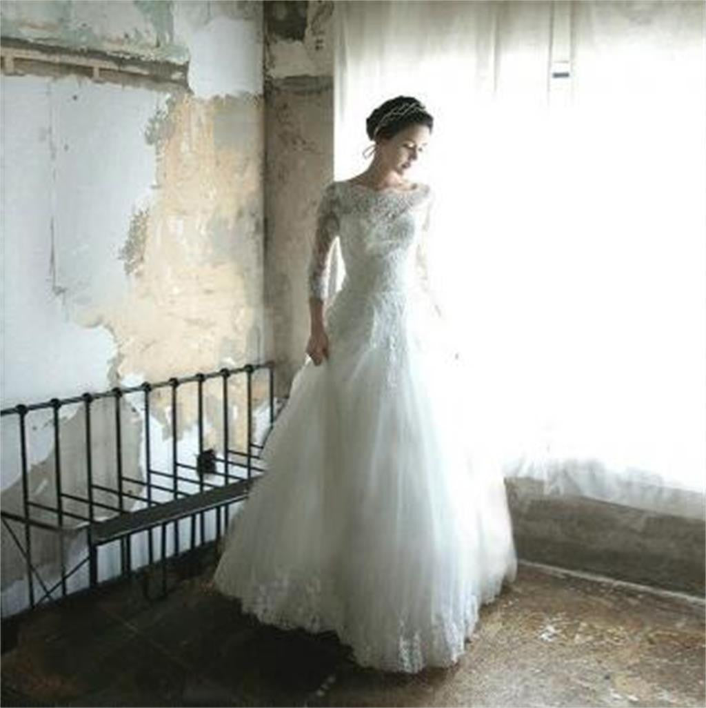 Long Sleeves Lace up back Affordable Cheap Free Custom Wedding Dresses, WD0230