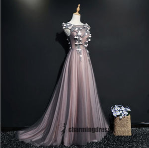 A-line Tulle Lace Appliques Floor-length Newest Prom Dress, Ball Gown, Prom Gowns, PD0351