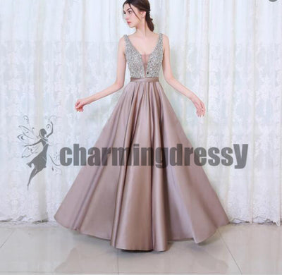 New Arrival Formal High Quality Floor-length V-neck Sparkly Prom Dresses, Evening Dresses, PD0384