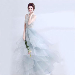 Long Organza Open Back Fluffy Prom Dresses, Fashion Prom Dress, Ball Gown, PD0350