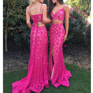 Charming Full Lace Two Pieces Sexy Side Split Lace  Prom Dresses, Spaghetti Straps Prom Dress. PD0364