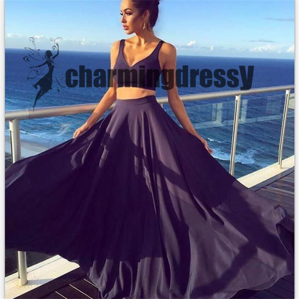 A-line Two Pieces Simple Fashion Soft Affordable Formal Prom Dresses, Party Dress, PD0367