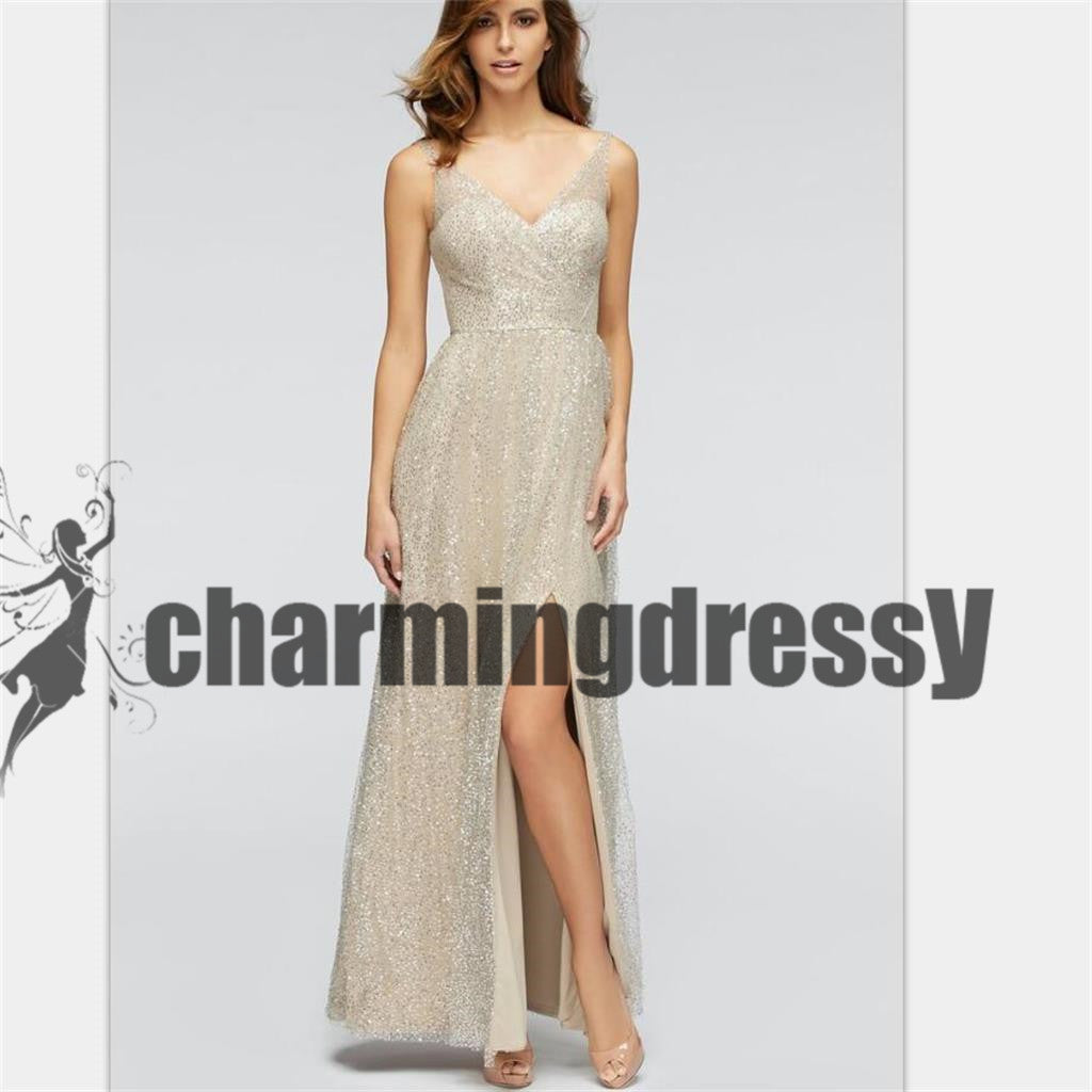 Sequin Sparkly V-Neck Side Split Sexy Unique Newest Prom Dresses ...